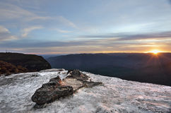 Solnedgång Wentworth Falls Blue Mountains Australia arkivfoton