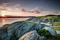 Solnedgång Yarmouth i Nova Scotia royaltyfria bilder