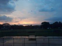 Solnedgångafton arkivfoton
