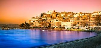 SolnedgångAnguillara Sabazia Bracciano sjö Royaltyfria Foton