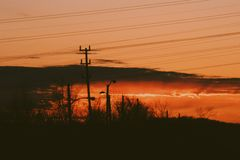 Solnedgångar i bilen Arkivfoton