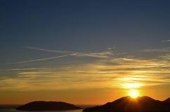 Solnedgångberg i Italien Arkivbild