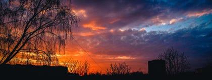 Solnedgångbrandhimmel Arkivbilder