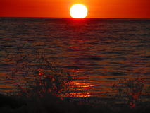 SolnedgångCabuyal strand arkivbild