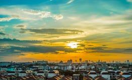 Solnedgångcityscape Arkivfoto
