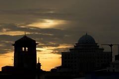Solnedgångcityscape Arkivfoton