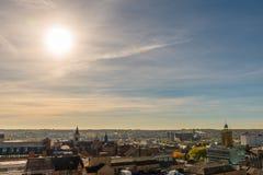 SolnedgångCityscape av Northampton UK Fotografering för Bildbyråer
