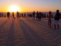 Solnedgångdyn arkivfoto