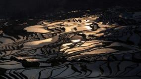 Solnedgången över YuanYang ris terrasserar i Yunnan, Kina, en av de senaste UNESCOvärldsarven royaltyfri bild