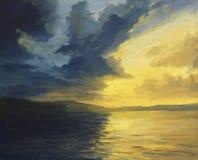Solnedgången av ljust och skuggar stock illustrationer