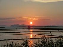 Solnedgången av Mozia Arkivbilder