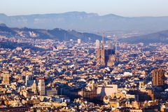 Sagrada Familia på aftonen Royaltyfri Fotografi