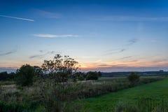 Solnedgången bland betar Arkivbilder