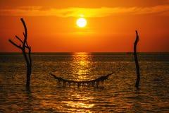 Solnedgången eller soluppgång med gömma i handflatan och skeppet i Maldivernaen, exotiska destinationer för ferie eller bröllopsr arkivfoto