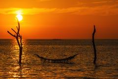 Solnedgången eller soluppgång med gömma i handflatan och skeppet i Maldivernaen, exotiska destinationer för ferie eller bröllopsr royaltyfri fotografi