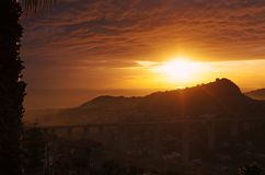 Solnedgången färgar Royaltyfria Foton