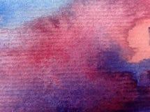 Solnedgången för soluppgång för himmel för abstrakt begrepp för vattenfärgkonstbakgrund texturerade suddig fantasi för våt wash Royaltyfri Fotografi