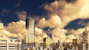 Solnedgången fördunklar över i stadens centrum skyskrapor 4K för staden vektor illustrationer
