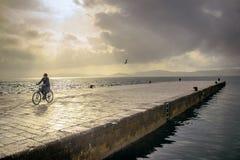 Solnedgången i cykel Royaltyfri Bild