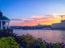 Solnedgången i Gorky parkerar Fotografering för Bildbyråer