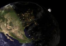 Solnedgången i United States, beståndsdelar av detta avbildar möblerat vid NAS Arkivfoton