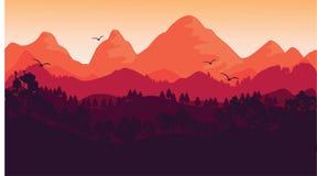 Solnedgången och landskapet stock illustrationer