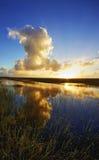 Solnedgången på airboaten skuggar i de Florida evergladesna Royaltyfria Foton