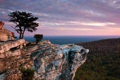 Solnedgången på att hänga vaggar Arkivfoto