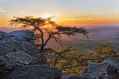 Solnedgången på Cheaha förbiser 1 Arkivbild