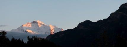 Solnedgången på de schweiziska fjällängarna, MÃ-¼ rren Schweiz Arkivbilder