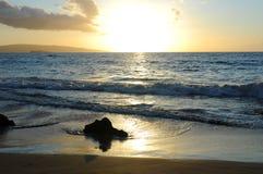 Solnedgångstrand Fotografering för Bildbyråer