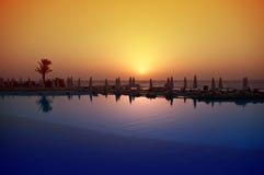 Solnedgången på Röda havet, Egypten. Arkivfoton