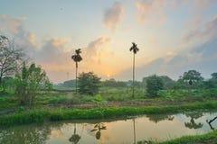 Solnedgången på sätter in arkivbilder