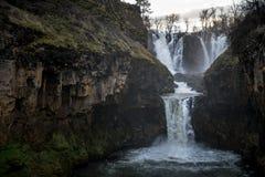 Solnedgången på White River faller Oregon Royaltyfri Bild