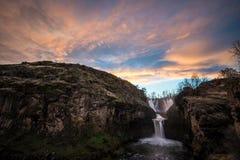 Solnedgången på White River faller Oregon Royaltyfri Fotografi