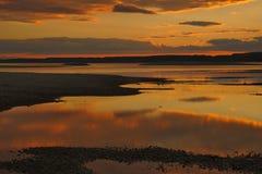 Solnedgången som faller på, blir grund Royaltyfri Foto