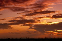 Solnedgången tänder fotografering för bildbyråer