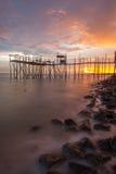 Solnedgångfiskeplattform Fotografering för Bildbyråer