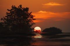 Solnedgångflod royaltyfri bild