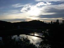 Solnedgångflod Arkivfoton