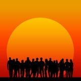 Solnedgångfolk Arkivfoton