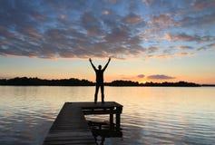 Solnedgångglädje! Royaltyfri Fotografi