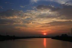 Solnedgångglöd arkivbilder