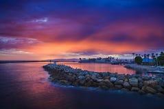 Solnedgångglöd ovanför Redondo Beach Arkivfoto