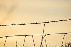 Solnedgånghimmel med taggtrådstaketet Arkivfoton