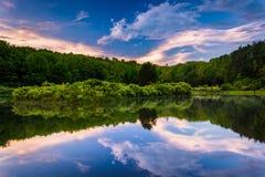 Solnedgånghimmel som reflekterar i ett damm på Delaware vattenGap medborgare R Royaltyfria Bilder