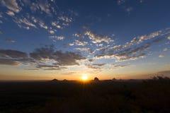 Solnedgånghimmellandskap Arkivbild