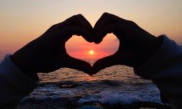 Solnedgånghjärta Royaltyfri Fotografi
