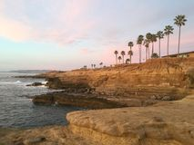 Solnedgångklippor Kalifornien Arkivbild