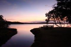 Solnedgångkontur Kincumber Australien arkivbild